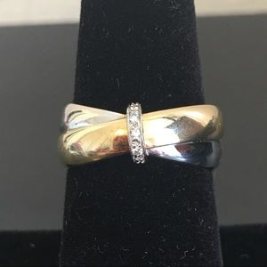 18kt Yellow & White Gold Ring w/Diamond Accents